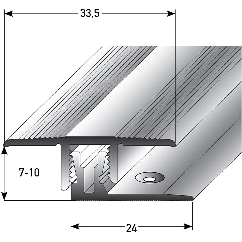 Laminat /& Parkett 7-10mm bronze dunkel * Rutschhemmend * Kratzfest acerto 36940 /Übergangsprofil Aluminium 2-teilig 100cm Alu-/Übergangsschiene,zum Klicken /Übergangsleiste f/ür Teppich-Boden