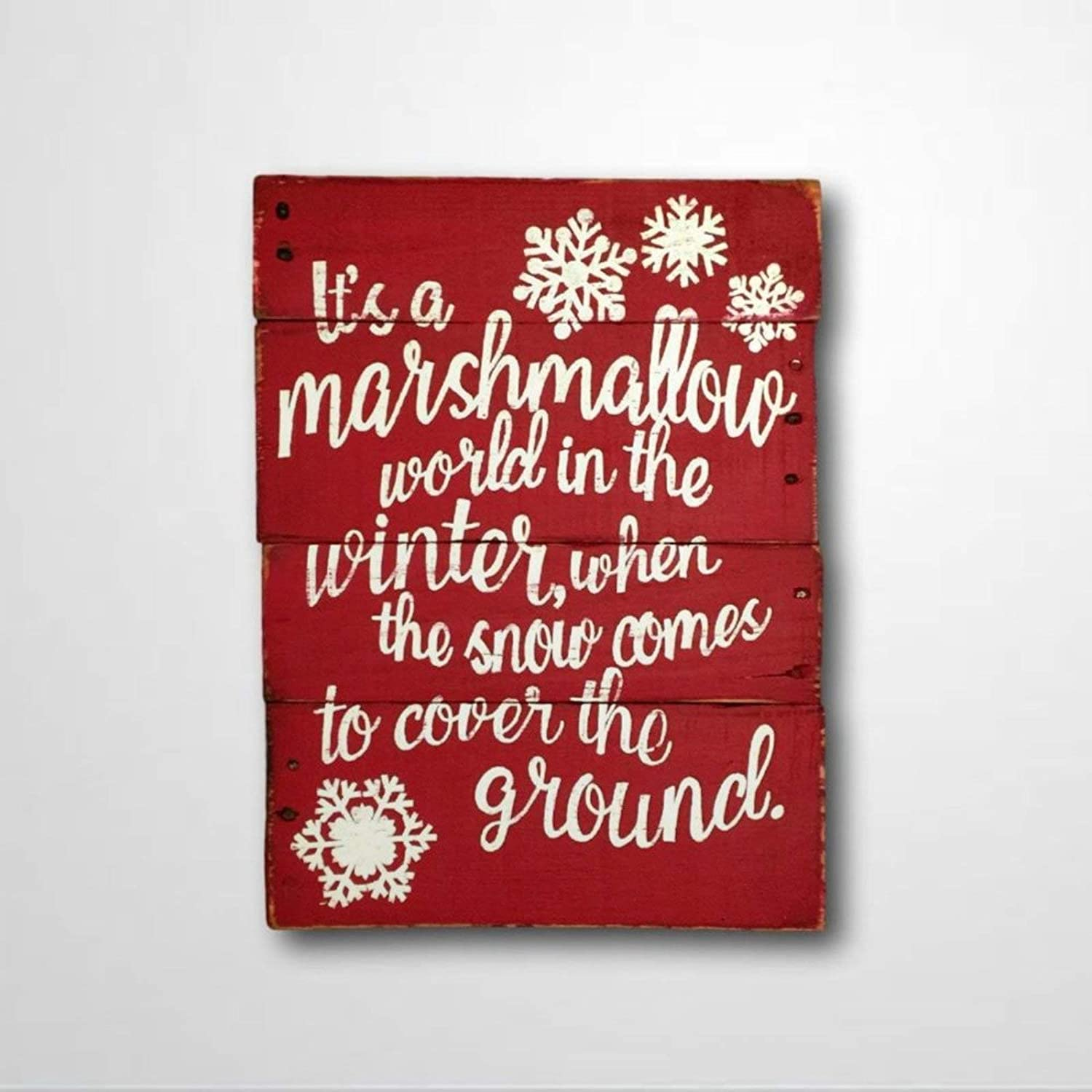 DONL9BAUER Marshmallow World in The Winter Sign Christmas Wood Sign Christmas Decor Christmas Song Lyrics Sign Mantel Decor Wall Hanging Home Decor Indoor Outdoor