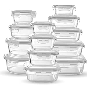 Glass Food Storage Containers [13-piece set] - Meal Prep Leakproof Container With Airtight Snap On Lids - Microwave, Oven, Freezer, Dishwasher Safe. Best For Kitchen, Lunch & Pantry - BPA Free