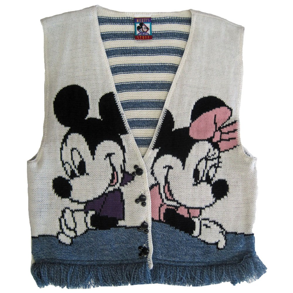 Disney Big Girls White Blue Mickey Minnie Knit Fringed Sleeveless Top 10-12