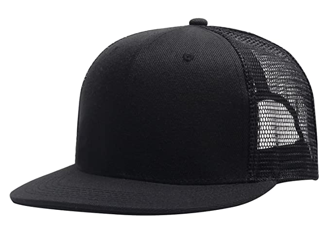 AIEOE Flat Brim Cap Mesh Cap Solid Color Men Women Hip Hop Sporty Snapback  Dance Hat ef0e15138dac