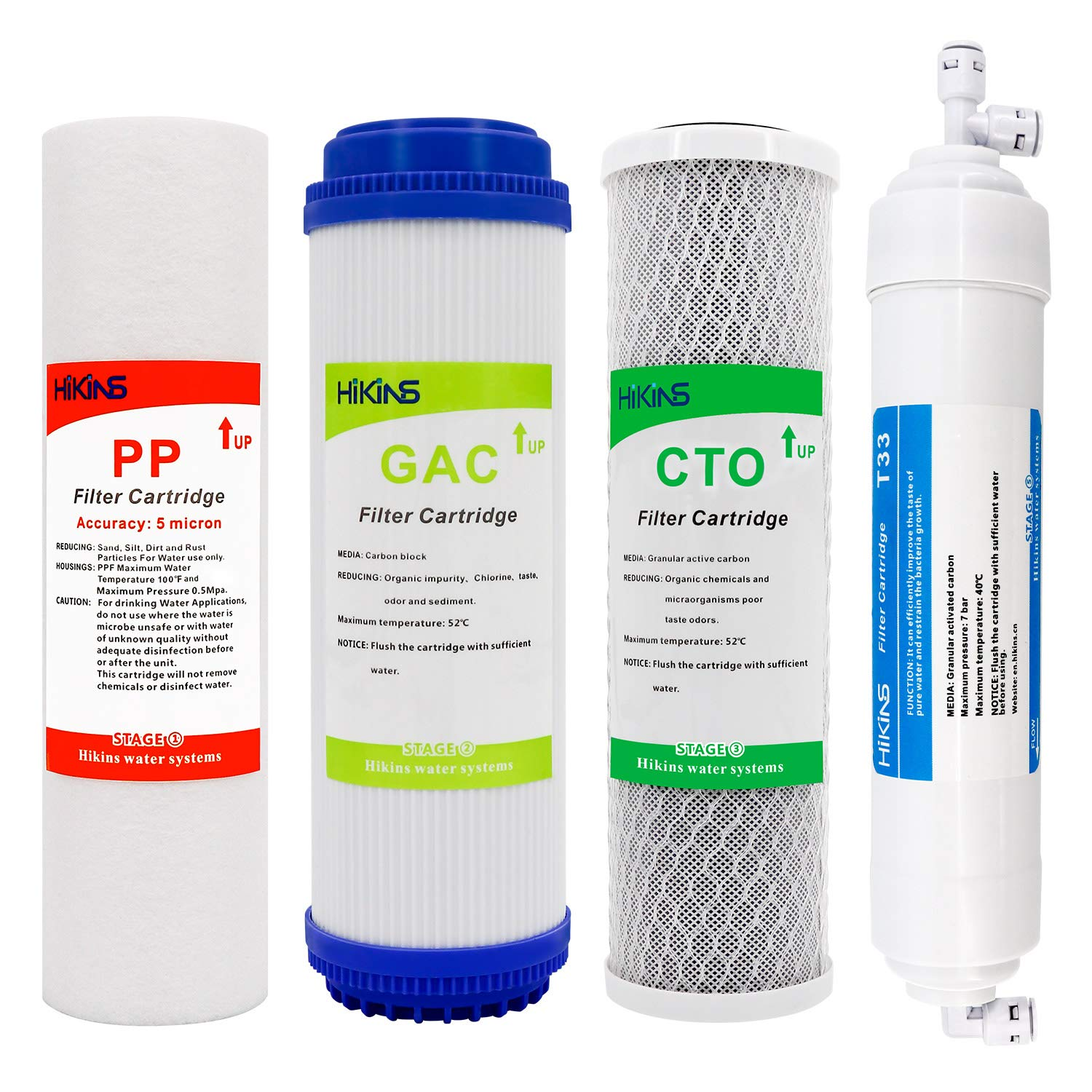 HiKiNS Advanced Reverse Osmosis Filter Replacement Set for 5-Stage Reverse Osmosis Water Filtration Systems with Compatible 10-in PP Sediment, GAC,CTO and T33 Post Carbon Filter(4-Pack NO Membrane)