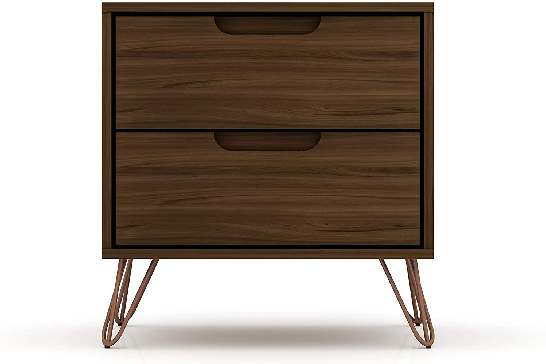 "Manhattan Comfort Rockefeller Mid-Century Modern 2 Drawer Bedroom Nightstand, 20.08"", Brown"