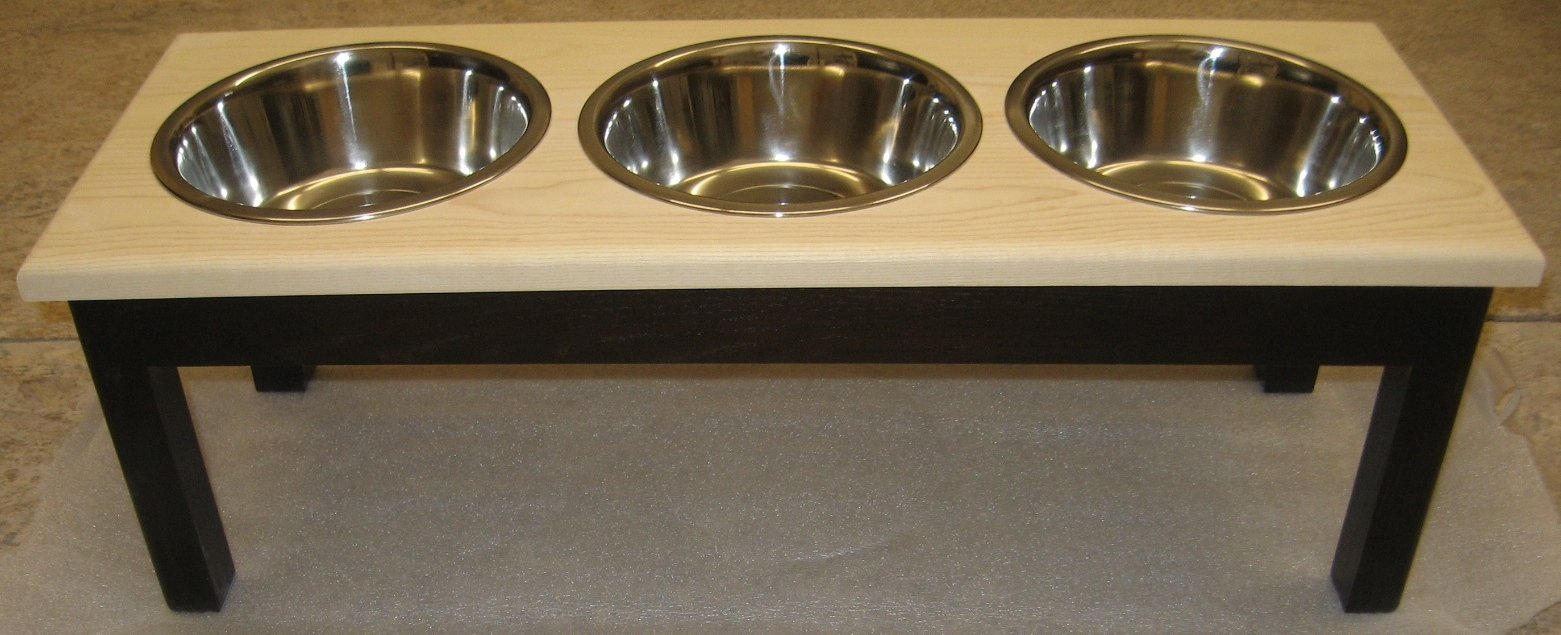 Classic Pet Beds 3-Bowl Traditional Style Ash Pet Diner, Large, Espresso/Natural