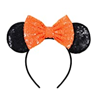 FANYITY Mouse Ears,Mice Sequin Ears Headbands for Boys Girls Women Cosplay Costume Princess Party Birthday Christmas Party Decorations (Orange)