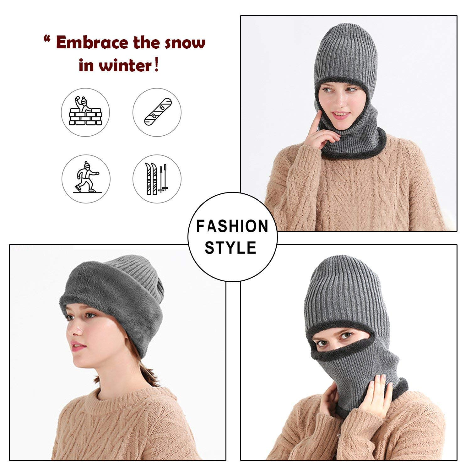 MOCOFO Warm Winter Hats, 3-in-1 Knit Beanie with Flexible Neck Guard,Unisex Face Mask Riding Hat for Winter Outdoor Sports Cycling Motorcycle Ski Snowboard or Fishing