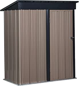 Waterproof Patio Storage Shelter Sheds with Lock for Backyard Garden, Steel, 5x2.9ft