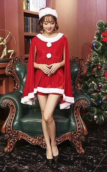 e4f8073b05847 S C Live クリスマスコスプレ衣装 レディース ケープ風サンタミニドレス3点SET 帽子 ケープ