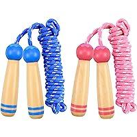 Kissral 2 Pack Kids Skipping Rope, 7.5Ft Verstelbare Katoen Springtouw Speed Touw met Houten Handvat voor Jongens en…