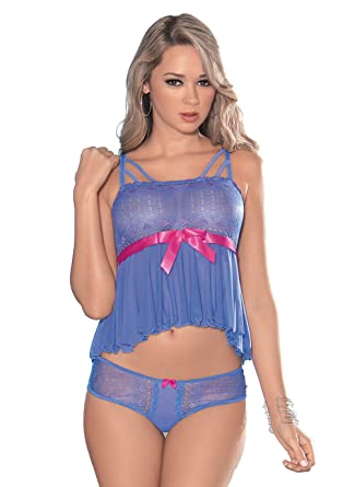 907963d4d99 Amazon.com  Escante Women s Soft Two Tone Lace with Mesh Criss Cross Cami  Top with Matching Panty with Satin Bow Detail  Clothing