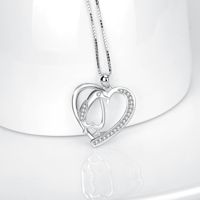 Angel caller Penguin Stud Earrings,Penguin Necklace,Penguin Bracelets Sterling Silver Polished Love Heart Penguins Jewelry Gift for Women Girls
