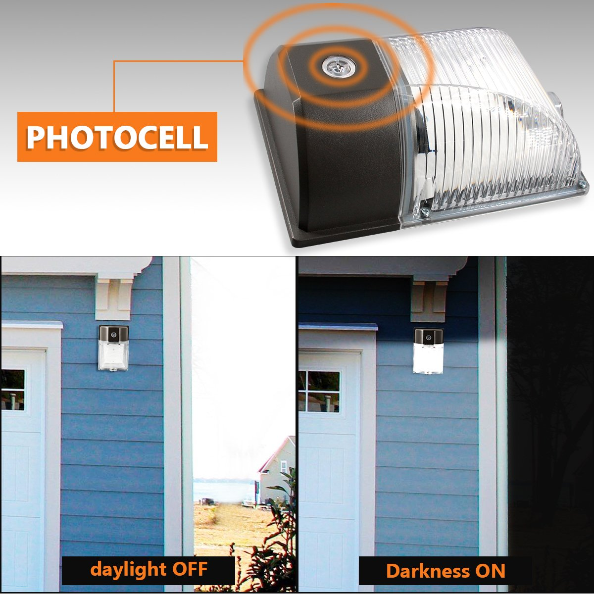 120-277Vac 5000K Daylight Photocell Dusk to ... 26W 3000LM LED Wall Pack Light