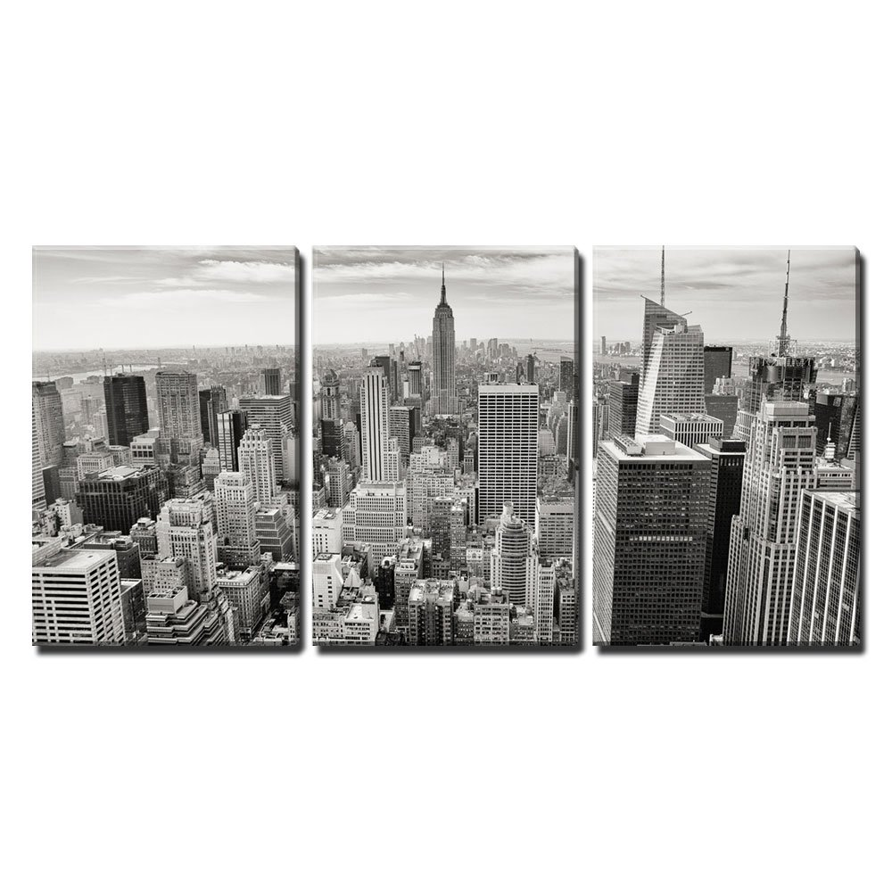 wall26 – 3 Piece Canvas Wall Art – Aerial View of Manhattan, New York City USA – Modern Home Decor Stretched and Framed Ready to Hang – 24 x36 x3 Panels