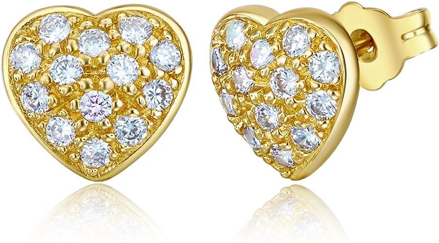 Wellingsale 14K Yellow Gold Polished Heart Stud Earrings With Screw Back