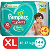 Pampers Pants with Aloe Vera,Size XL,12-17kg (144 Counts)