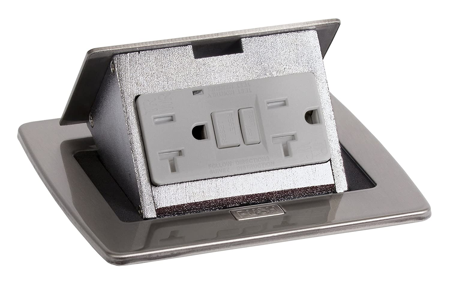 Lew Electric Pufp Ct Ss Countertop Box Pop Up W 20a Gfi Receptacle Wiring Kitchen Counter Outlets Stainless Steel