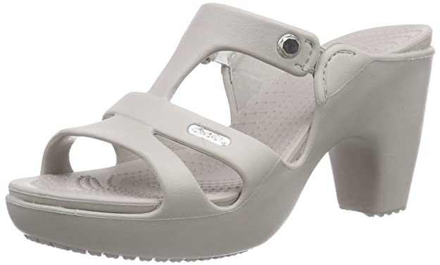 Crocs Cyprus V Heel Women Heeled Shoes, Grey (Platinum/Platinum), 8 UK (10 US)