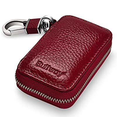 Buffway Car Key Chain Bag,Genuine Leather Car Smart Keychain Coin Holder Metal Hook and Keyring Wallet Zipper Case for Auto Remote Key Fob - Cherry: Automotive