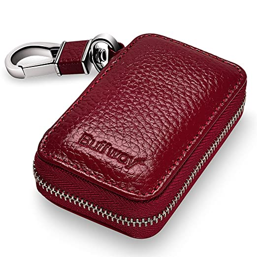 Buffway Car Key Chain Bag,Genuine Leather Car Smart Keychain Coin Holder Metal Hook and Keyring Wallet Zipper Case for Auto Remote Key Fob - Cherry