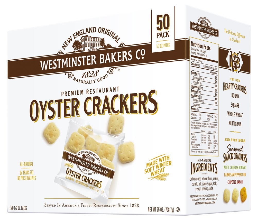 Westminster Bakers Company Premium Restaurant Oyster Crackers, 25 Ounce (50 Count, 1/2 Ounce) by Westminster Bakers