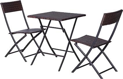 Amazon De Outsunny Set Di Mobili Da Giardino In Rattan Set Bistrot Da Esterni Set 2 Sedie Pieghevoli Intrecciate In Vimini E 1 Tavolo Quadrato