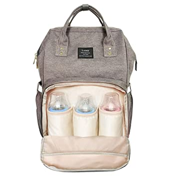 Large Capacity Stylish and Durable Changing Pad Waterproof Travel Backpack Nappy Bags for Baby Care Baby Diaper Bag Gray