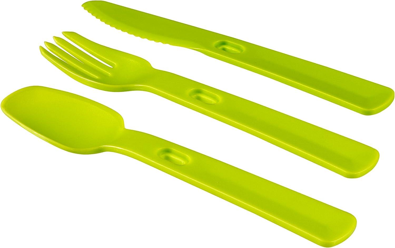 Curver - Set de cubertería de plástico Smart To Go con cuchara, cuchillo y tener. Incluye funda transparente