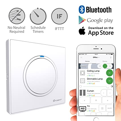 Yoswit Smart Light Switch 1 Gang - No Neutral Wire Required, Control on light at end with wire, light and fan switch wiring, light switch wiring ceiling fan, light switch with only two wires,