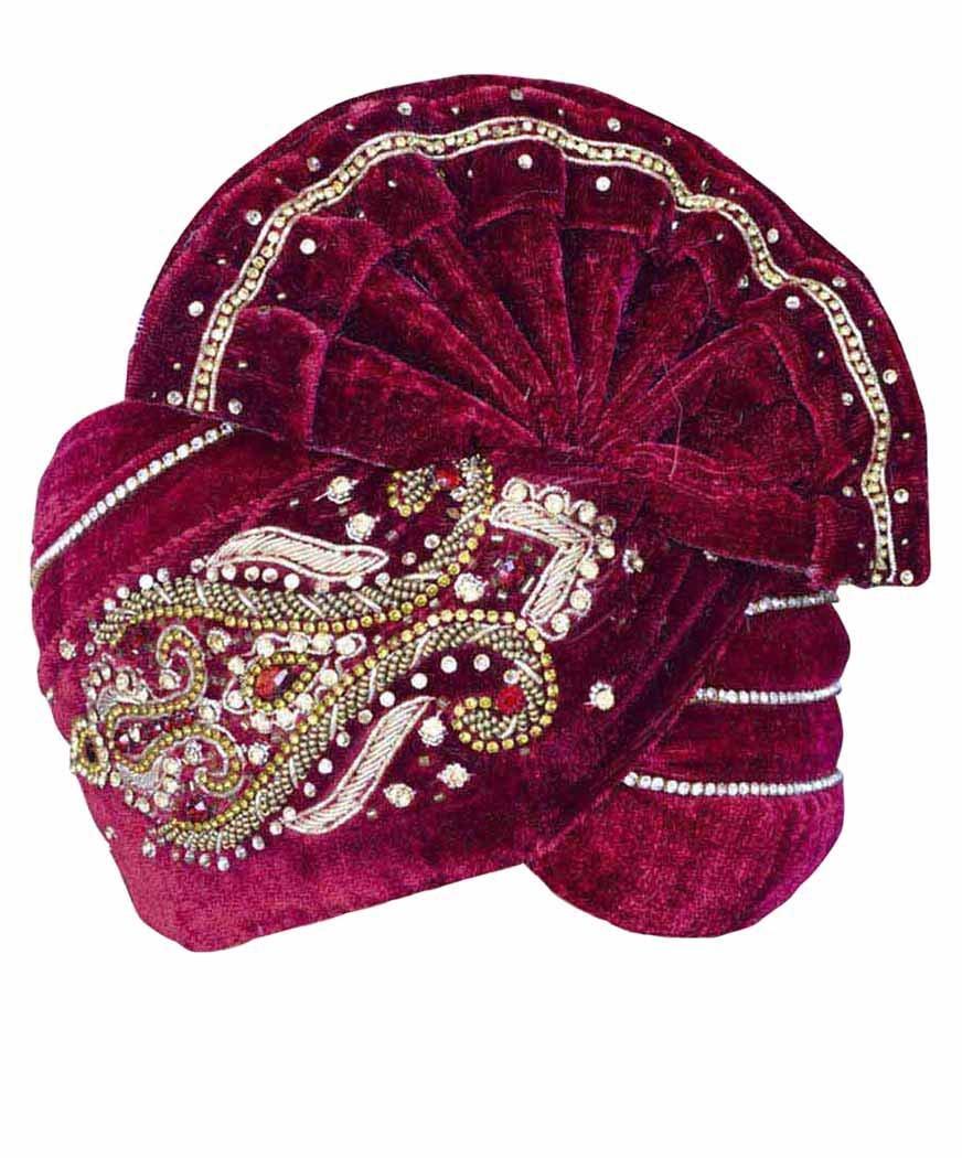 INMONARCH Mens Royal Wedding Turban Pagari Safa Groom Hats TU1074 23-inch Maroon