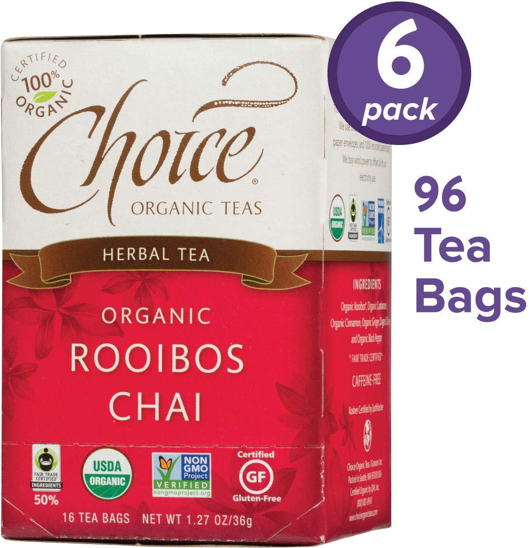 Choice Organic Teas Herbal Tea, 6 Boxes of 16 (96 Tea Bags), Rooibos Chai, Caffeine Free