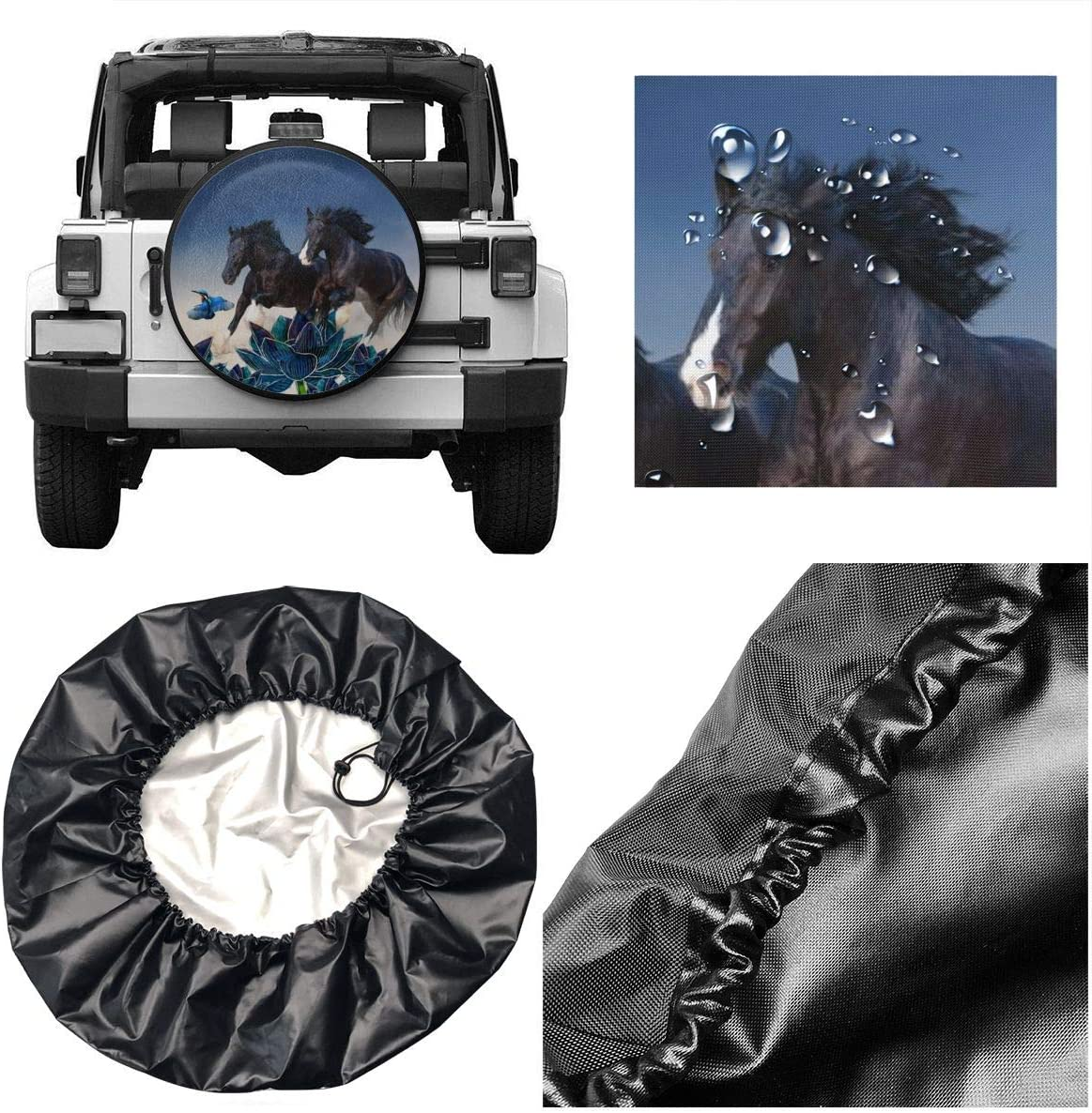 Universal Wheel Tire Protectors,Camper Travel Car Weatherproof Accessories Diameter 14 Inch BRECKSUCH Black Horse Run Kicking Dust Spare Tire Covers