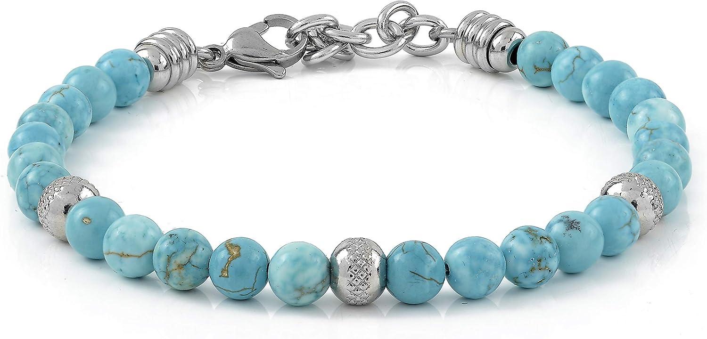perles en acier inoxydable 10:10 Bracelet avec pierres turquoise de 6 mm bracelet tr/ès r/ésistant fabriqu/é en Italie