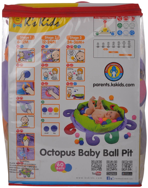 Ks Kids Centro de Actividades para Bebe con Bolas Pulpo para beb/é con Bolas y Multiples Actividades
