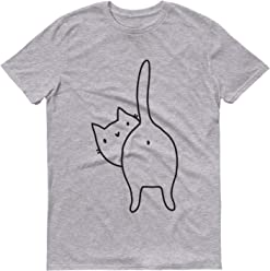40348bf6 Cheeky and Funny Illustrated Cat Tshirt, Cat, Kitten, Animal Lover, Novelty  Mens