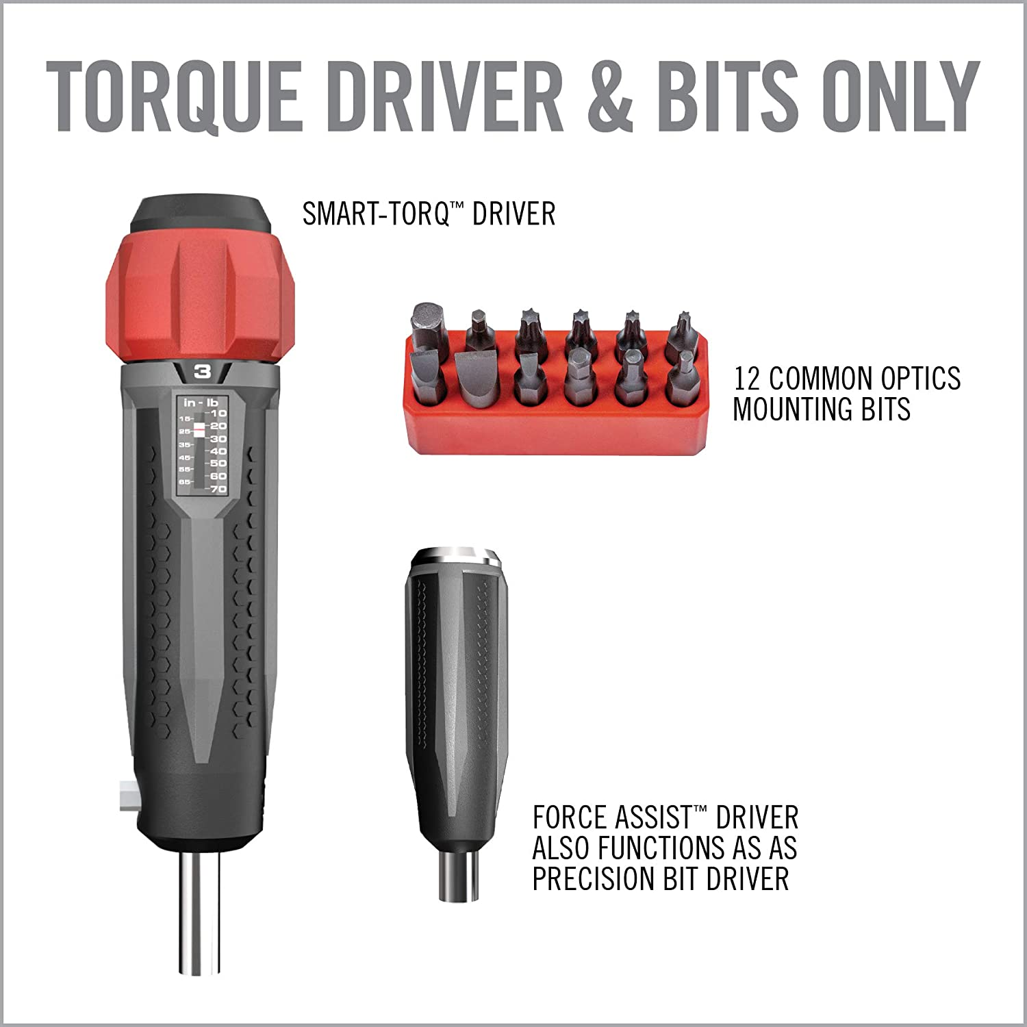 Force-Assist Technology and Set of Optics Mounting Bits Real Avid Smart Torq Torque Wrench Precision Torque Driver with Accurate 1 Inch//Pound Setting
