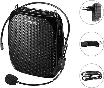 Zoweetek® Amplificador portatil (10W) con 1800 mAh batería de Litio con un microfono para guías Maestros Profesores Artistas animadores promotores de Ventas,etc: Amazon.es: Instrumentos musicales
