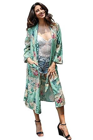 Drucken Cardigan Kimono mit Gürtel Sommer Langarm Lange Mäntel Damen ...