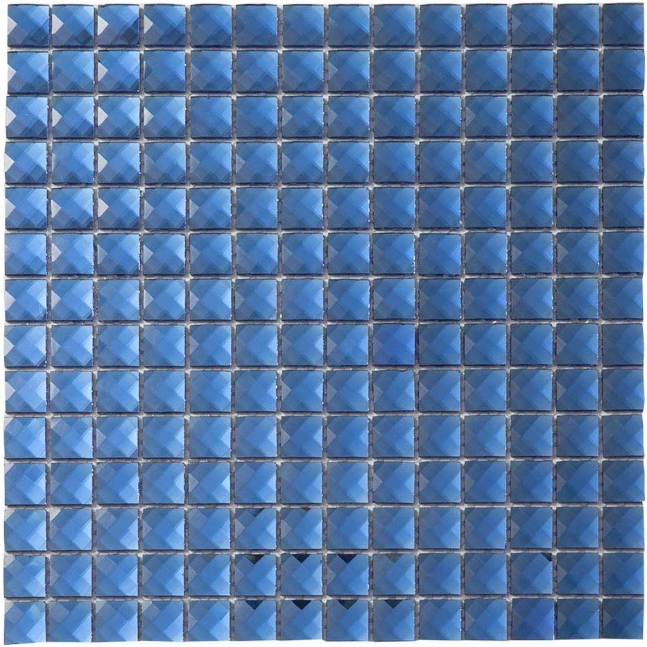 - Diflart Mirror Glass Mosaic Tile Blue Crystal Diamond Mosaic Tile 3/4 Inch  For Kitchen Backsplash Bathroom Pool KTV Bar Wall Pack Of 5 (Blue) - -  Amazon.com