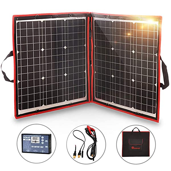 front facing dokio 80w solar panel for camping