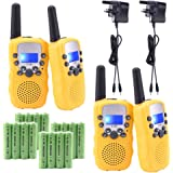 Upgrow 4pcs RT-388 Kids Walkie Talkie Children Walky Talky 0.5W 8 Channels PMR446MHz Rechargeable 2 Way Radio for Children 5 Miles/8 KM Long Range, UK Charger, Built-in LED Torch VOX LCD Display (2 Pair) ( 16 x AAA battery and 2xUK charger included ) (4pcs Yellow)
