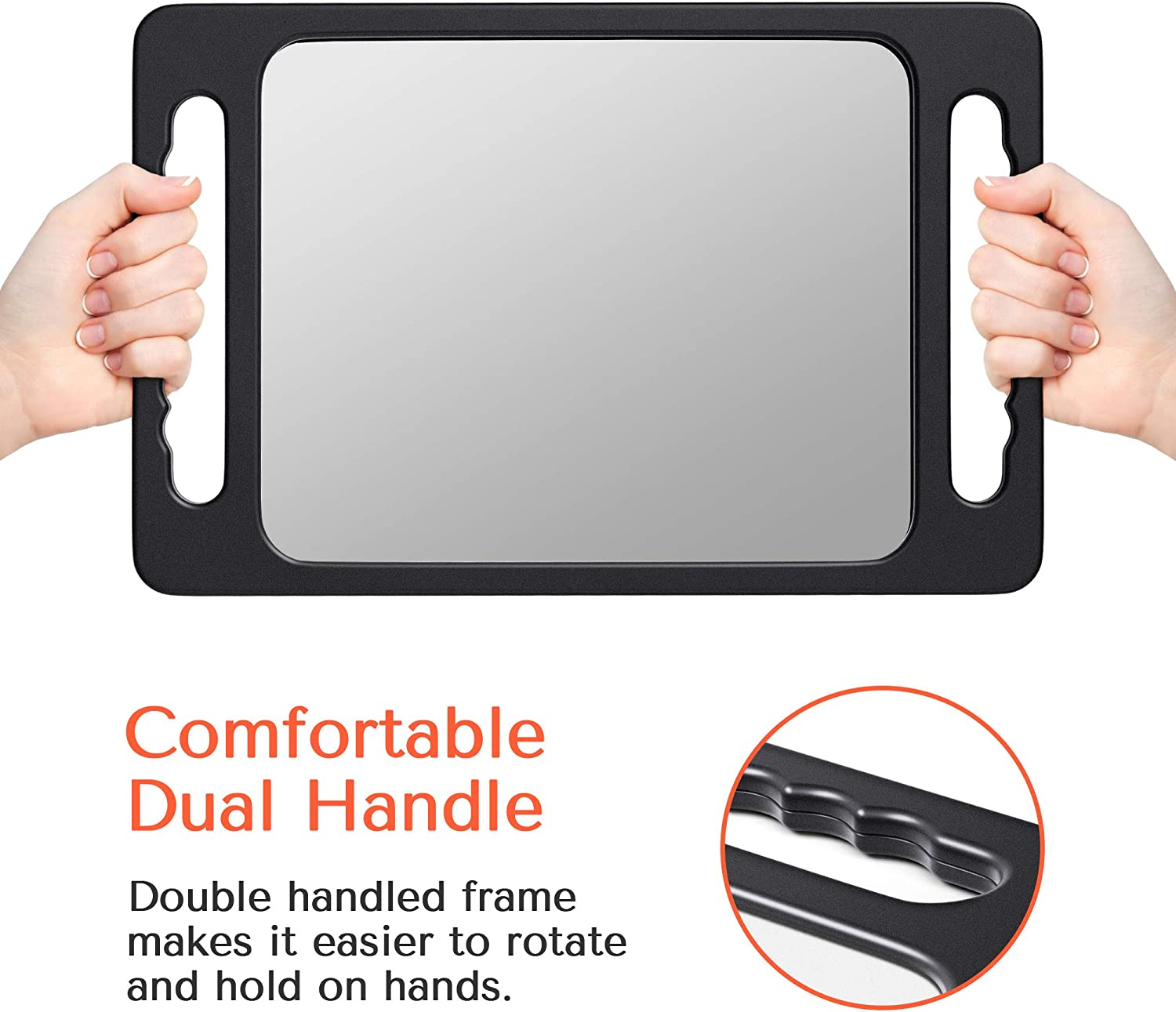 TASALON Unbreakable Hand Mirror with Double Handle - Large Handheld Barber Mirror for Hair and beauty Salon - Durable Hand Held Mirrors for barbershop - Lightweight Haircut Mirror with Double Handgrip: Furniture & Decor
