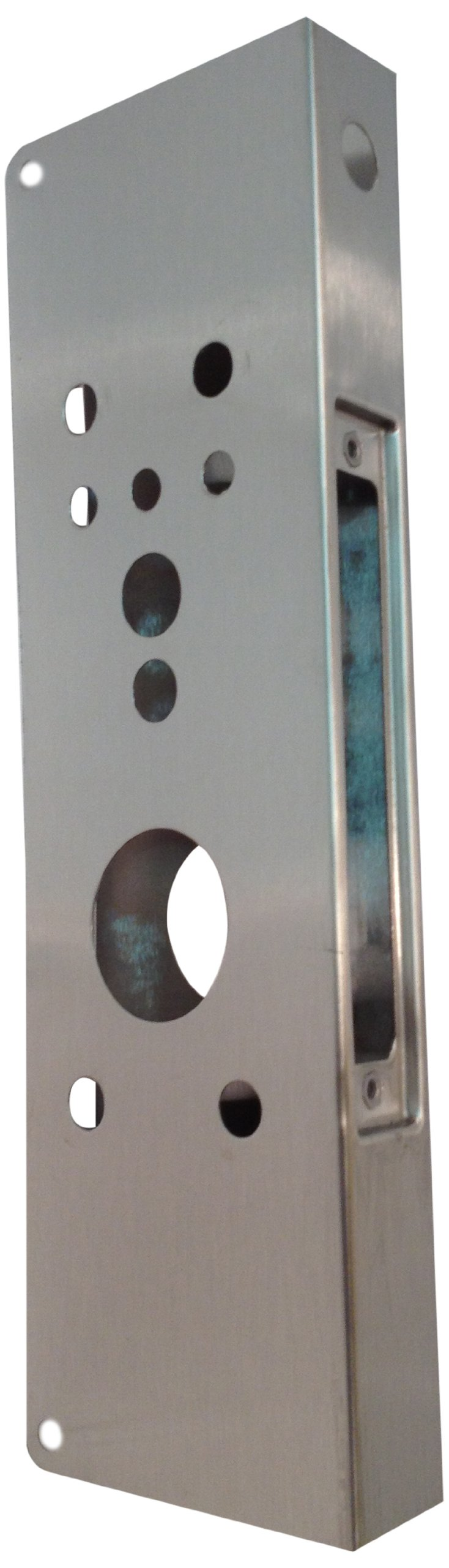 Don-Jo 504AD 22-Gauge Mortise Lock Wrap-Around Plate, Satin Stainless Steel Finish, 5'' Width x 12'' Height, For 86 Cut-Out by Don-Jo (Image #1)