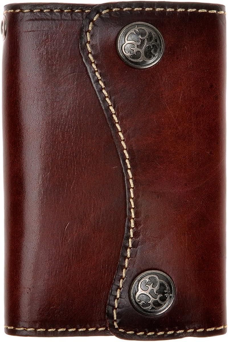 ZLYC - Funda de piel auténtica para llavero con 6 ganchos, cierre de botón y tarjetero