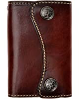 ZLYC New Genuine Leather Two Buttons Key Wallet Card Holder Key Case Keychain (Dark Brown)