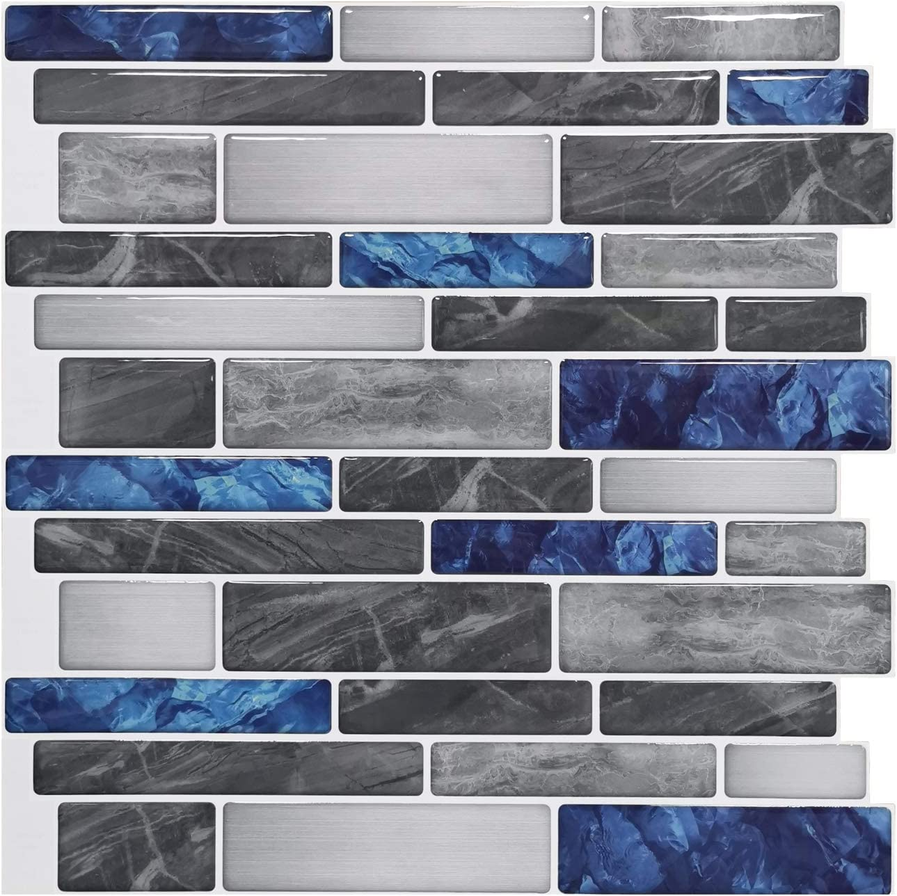 "Art3d 10-Sheet Premium Anti-Mold Self-Adhesive Kitchen Backsplash Tiles in Marble, 12""X12"""