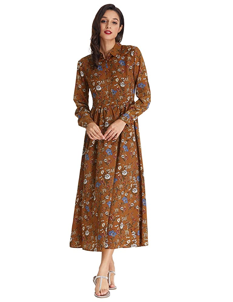500 Vintage Style Dresses for Sale GRACE KARIN Womens Vintage Style Long Sleeve Floral Print Long Maxi Dress $22.99 AT vintagedancer.com