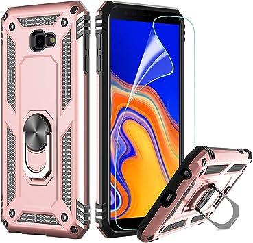 LeYi Coque Galaxy J4 Plus avec Aimant Anneau Support, Double Couche Renforcée Défense Bumper TPU Gel Silicone Antichoc Armure Housse Etui avec ...