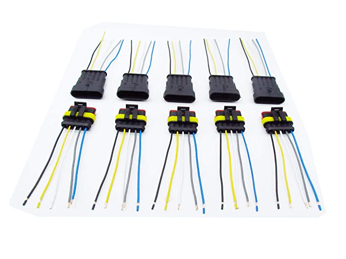 CNKF 5 Sets 5 Pin 1.5MM Series Car Waterproof Electrical Connector  Pin Wiring Harness Plug on