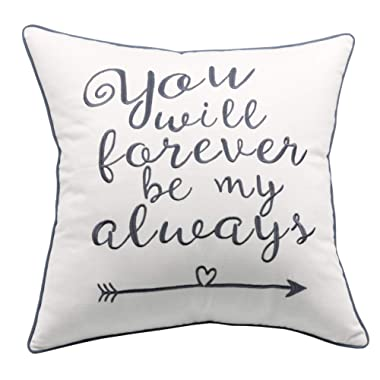 YugTex Pillowcase You Will Forever be My Always Couple Pillow, Wedding Gift, Anniversary, Valentine, Newlywed, Engagement, Gift,Gift for Her (18 x18 , Forever(Ivory))