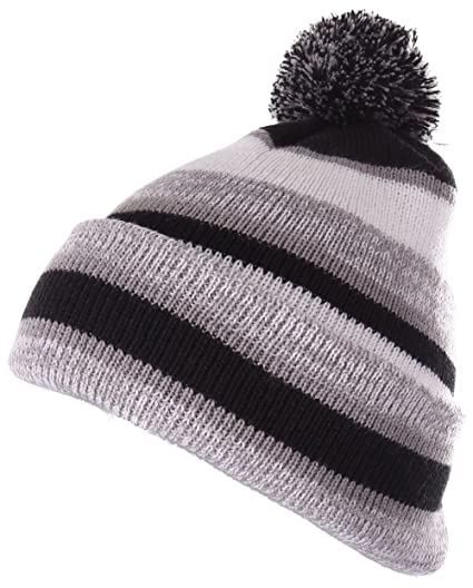 f9c6859e Enimay Winter Pom Pom Knit Beanie Cuffed Skull Cap Striped Team Beanie  Black | Silver One. Roll over image to zoom in